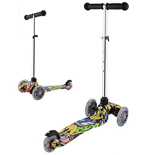 Ancheer Roller, für Kinder, Roller, klassisch, mit 3 blinkenden Rädern und verstellbarem Griff, höhenverstellbar (54 – 59 – 64 – 69 cm): ABEC-7-Kugellager, maximale Belastung: 50 kg (Typ 1)