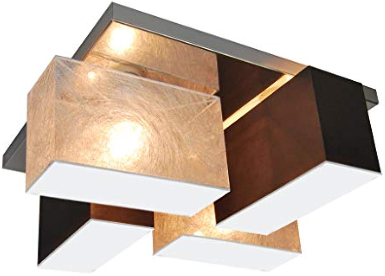 Deckenlampe Deckenleuchte mit Blenden CRJLS4525 aus Edelstahl HausLeuchten Leuchte Lampe 4-flammig Wohnzimmerlampe Schlafzimmerlampe Küche Kinderzimmer Lampe LED-geeignet (Silbern Dunkel Braun)