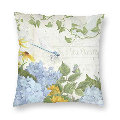 Meius Farmhouse - Funda de cojín de terciopelo con diseño de libélula floral vintage de terciopelo, cuadrada, funda de almohada para salón, sofá o dormitorio con cremallera invisible de 20 x 20 pulgadas