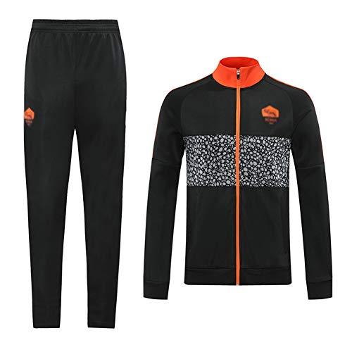 H.ZHOU Europea de Formación Club de fútbol Juego de los Hombres de Manga Larga Transpirable Deporte Jersey (Top + Pants) -A1304 Trajes Deportivos para Hombre (Color : Black, Size : S)