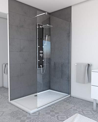 MARWELL Walk IN Duschabtrennung 120 x 200 cm begehbare Duschwand mit barrierefreiem Einstieg - 6 mm starkes Einscheibensicherheitsglas - mit verchromten Aluminiumprofilen