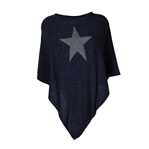 Glamexx24 Damen Elegante Poncho Strick Pullover Strick Jacke mit Stern Muster