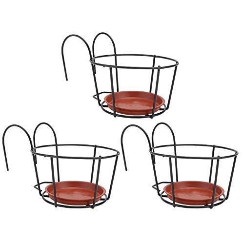 Cabilock 3 Juegos de Macetas de Metal de Hierro con Soporte para Platillo de Plantas Jardineras de Balcón Jardinera de Barandilla Colgante Maceta de Flores Cesta para Valla Jardinera de