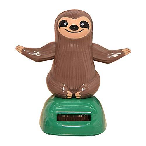 Nigoz Lovely Cartoon Sloth Solar Swing Car Dashboard Decoración Interior Ornamento Regalo Novedad Escritorio Coche Juguete Ornamento - Café Durable y Práctico Buena Calidad
