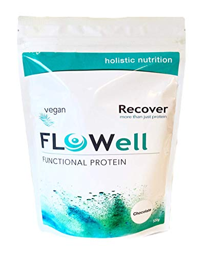FLOWell Vegan Protein Powder with Curcumin, Adaptogens, Advanced Vitamin and Mineral Formula, Probiotics, BCAA & Omega 3| Pea and Organic Brown Rice Protein Isolate | Recover (Chocolate, 500g)