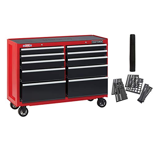 CRAFTSMAN Tool Cabinet with Drawer Liner Roll & Socket Organizer, 52-Inch, Rolling,, 10 Drawer, Red (CMST82775RB)