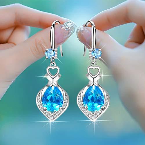 Pendientes de plata de ley 925 con forma de corazón de cristal de lujo, joyería de plata de Corea 2020 azul