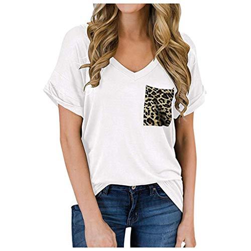 ZBYY Blusa para mujer de manga corta con cuello en V, suelta, casual, camiseta de verano, estampado de...