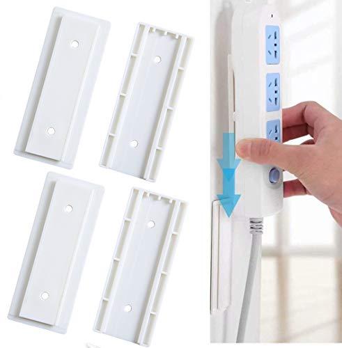 4 Paar selbstklebende Steckdosenleiste zur Wandbefestigung, Steckdosenleiste, Schreibtisch-Wandhalterung, Hmount einfachste Halterung für Steckdosenleiste, WLAN-Router, Fernbedienung und andere