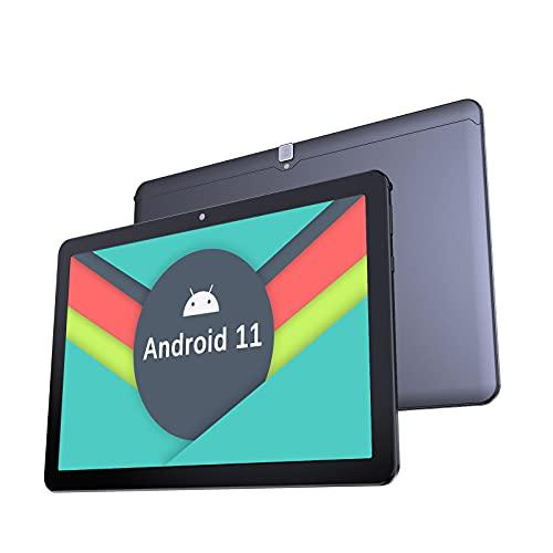 Tablet 10 Zoll Android 11.0-YUMKEM Tablets PC, Octa-Core, 4 GB RAM, 64 GB ROM, WiFi, 1280 x 800 HD, 2MP+5MP Kamera, 5000mAh, Android Tablet unterstützt GPS Bluetooth 4.2, Type-C, U221, Schwarz