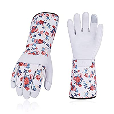 Vgo 1-Pair Natural Genuine Goatskin Leather Gardening Gloves, Long Cuff Protection, High Dexterity Grip Gloves (Size M, White, GA9658-W)