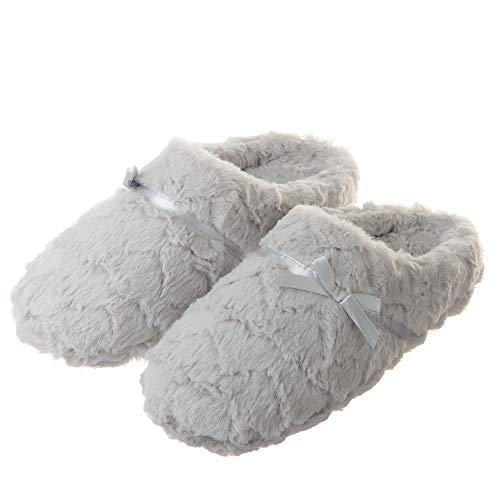 Tofern Damen/Mädchen Hausschuhe Pantoffel TPR Memory-Foam kuschelig weich rutschfest warm Schlafzimmer Wohnzimmer Büro Winter, Grau EU 37-38, 250mm
