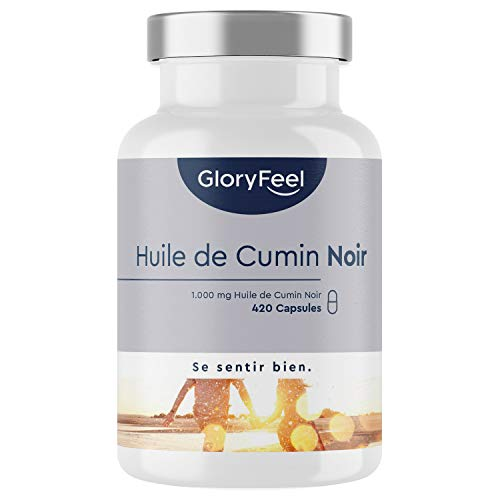 GloryFeel Huile de Cumin Noir 1000mg avec Vitamine E, 420 capsules originales de Huile de Graines de Nigelle d'Egypte pressées à froid avec 80% d'Acides Gras Insaturés Essentiels