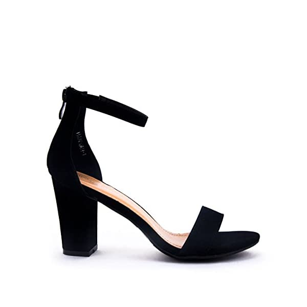 LOV Shoes Women's Ankle Strap Chunky Heel Sandal with Zipper Closure
