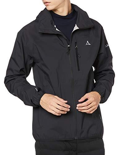 Schöffel Jacket Toronto4, wind- und wasserdichte Herren Jacke mit verstaubarer Kapuze, atmungsaktive und verstaubare Hardshelljacke für Männer Herren, black, 50