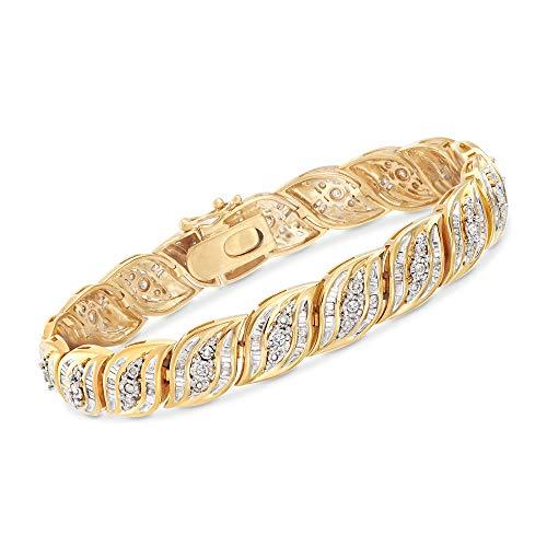 Ross-Simons 1.00 ct. t.w. Diamond Bracelet in 18kt Gold Over Sterling. 7 inches