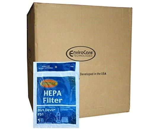 Electric Vac LLC 1/2 Case (25 pkgs) Dirt Devil Estilo F51 Aspirador HEPA Filtro de Escape 30 400