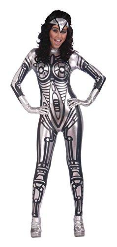 Bristol Novelty- Ac286 Costume de Robot pour Femme, Noir, Size 10-14