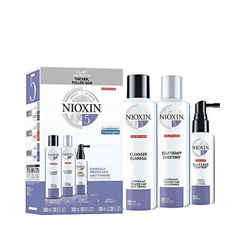 Nioxin System 5 Hair Care Kit for Bleached/CheMically Treated Hair with Light Thinning, 3 Count