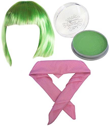 ILOVEFANCYDRESS - Disfraz de personaje Asco de Del revs, incluye peluca corta verde, maquillaje verde y pauelo rosa