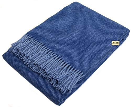Wolldecke 100% Schurwolle in versch. Farben und Größen Schurwolldecke Plaid (blau/hellblau Z1, ca. 140 x 200 cm)