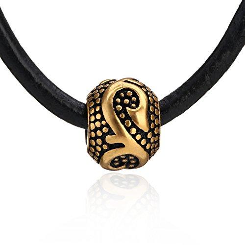 DonDon® Unisex Halskette mit Beads-Anhänger messingfarben Lederkette 50 cm und Samtbeutel