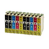 10 Druckerpatronen für Epson T1631XL 1632XL 1633XL 1634XL BK,C,M,Y Workforce WF-2630WF - 4xSchwarz je 18ml,2X je C,M,Y 18ml, kompatibel