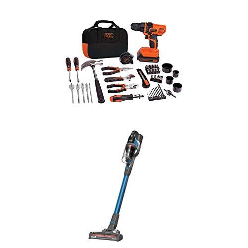 BLACK+DECKER 20V MAX Drill/Home Tool Kit with POWERSERIES Extreme Cordless Stick Vacuum, Blue (LDX120PK & BSV2020G)