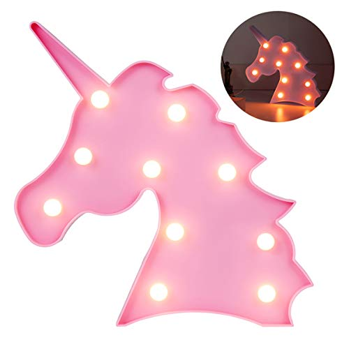 LEDGLE Unicorn Party Supplies Kids Unicorn Light Battery Operated LED Night Light Wall Living Room,Bedroom,Home, Christmas,Party Creative Gift for Kids, Pink