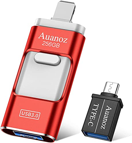 Auanoz Chiavetta USB per Phone Memoria USB 256GB USB 3.0 4 in 1 Pen Drive per Phone Pad Android Smartphone Tablet PC Macbook Tipo C Porta.(Rosso-256GB)