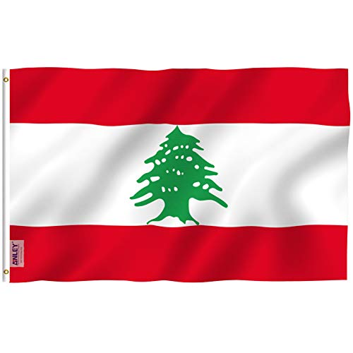 Anley Fly Breeze 3x5 Feet Lebanon Flag - Vivid Color and Fade Proof - Canvas Header and Double Stitched - The Lebanese Republic Flags Polyester with Brass Grommets 3 X 5 Ft