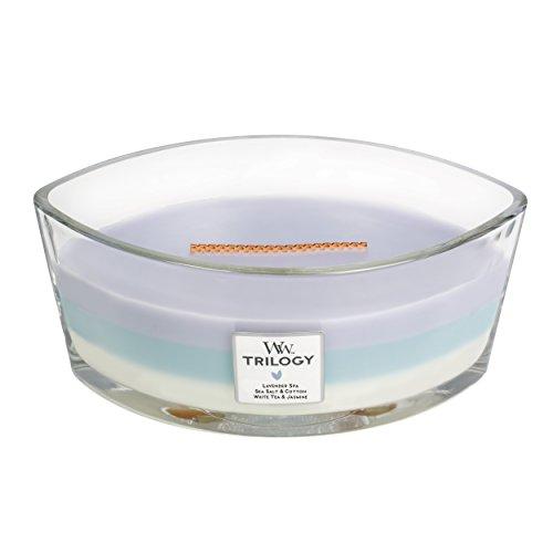 Woodwick Beruhigender Zufluchtsort Trilogy Lavendel-Spa, Glas, Violett-blau-weiß/Durchsichtig, 11.2 x 10.6 x 8.8 cm