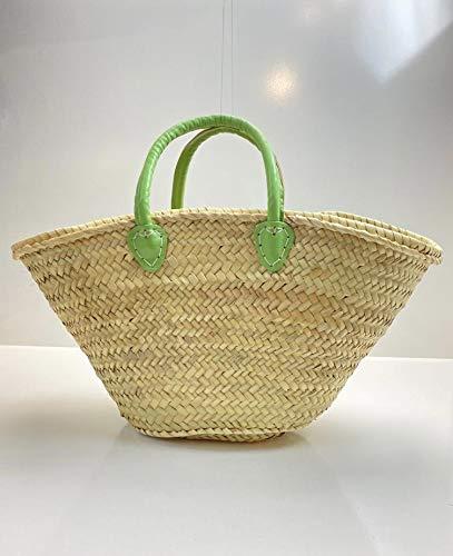 MAISON ANDALUZ - Cestino per la spesa in stile marocchino, misura media, con spalline verdi e manici in pelle, 54 x 18 x 30 cm
