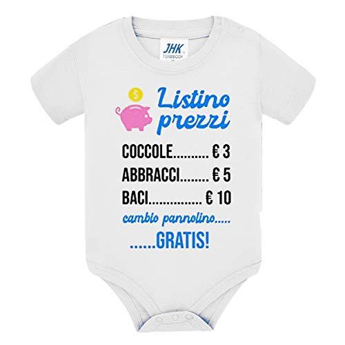 Body Bimbo o Bimba Neonati Bebè Pagliaccetto Listino Prezzi Divertente, Coccole abbracci Baci. Cambio Pannolino Gratis! Idea Regalo! Scritte in Azzurro! (3-6 Mesi)