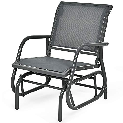COSTWAY Garden Glider Chair, Metal Frame Armchair Swing Single Seater, Outdoor Indoor Relax Rocking Chairs for Living Room, Patio, Porch and Poolside (Grey)