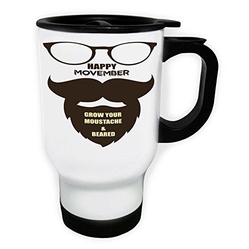INNOGLEN Happy Movember Cultivez Votre Moustache Tasse de Voyage Thermique Blanche 14oz 400ml u178tw