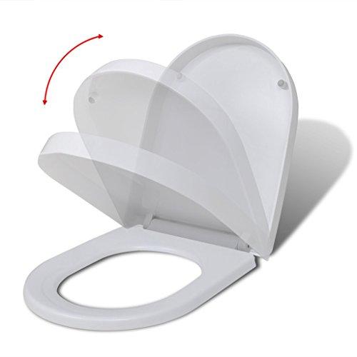 Festnight Weißer WC-Sitz Toilettendeckel Toilettensitz mit Absenkautomatik und Quickrelase-Funktion Eckig-Form für alle Standard Toilettenschüsseln