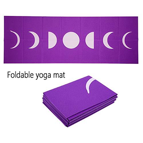 Gym matt for home, yoga mats workout mat fitness mat, rubber mat yoga towel portable non-slip ultra-thin mobile yoga mat, exquisite fashion pattern, size: 173CM * 61CM * 0.3 / 0.4 / 0.5CM,Viola,4mm