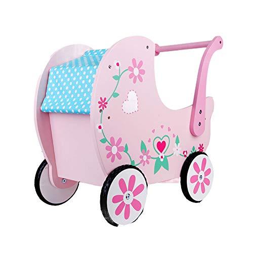 Heqianqian-Home Baby Walker mini trä baby tryckgåvagator baby balansgång barn gångare med hjul för pojkar och flickor (rosa) multifunktionell baby gåstol (färg: rosa, storlek: 47 x 22 x 45 cm)