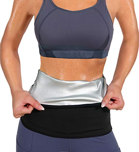 LODAY Waist Trimmer for Women Weight Loss,Tummy Trainer Sweat Workout Shaper,Neoprene-Free Slimming Sauna Wrap (Black, M)