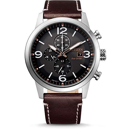 Citizen Herren Analog Eco-Drive Uhr mit Leder Armband CA0740-14H