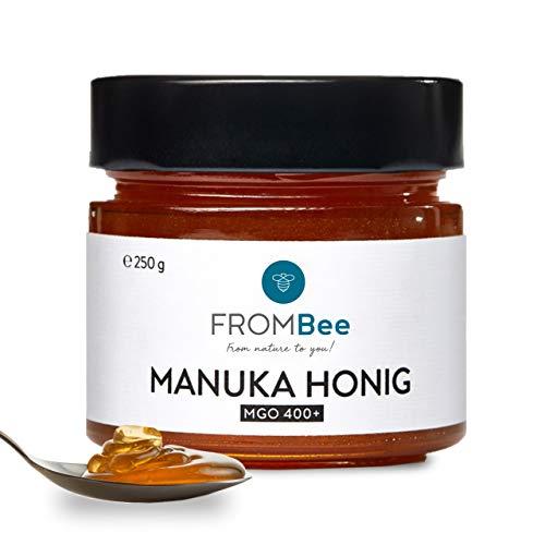 Frombee Manuka Honig MGO 400+ – Manukahonig im Glas aus Neuseeland – 100 % natürlich und rein – schmeckt pur und kann zur äußeren Anwendung benutzt werden – 1 x 250 g