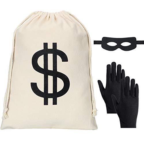 Conjunto de Disfraces de Ladrón, Incluye Bolsa de Dinero con Signo de Dólar, Guantes Negros de Bandido, Máscara de Ojos de Bandido para la Fiesta de Halloween Pirata Ladrón Cosplay Disfraz