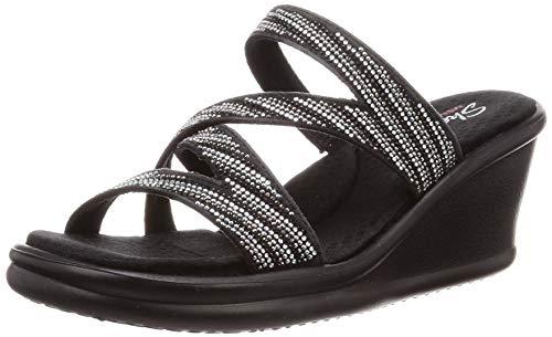 Skechers Women's Rumblers-MEGA Flash-Rhinestone Multi Strap Wedge Slide Sandal, Black/Silver, 9 M US