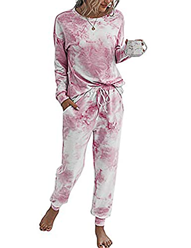 Doaraha Damski dres treningowy piżama, zestaw do joggingu, dres rekreacyjny, strój domowy, dla kobiet, dwuczęściowy strój sportowy, pidżama do uprawiania sportu i rekreacji