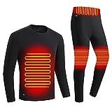 LISI Ropa Interior Calefactable Hombre USB Eléctrico Calefactado Lavable Camiseta y Pantalón Invierno Ciclismo Esquí Set de Ropa Térmico - Recargables