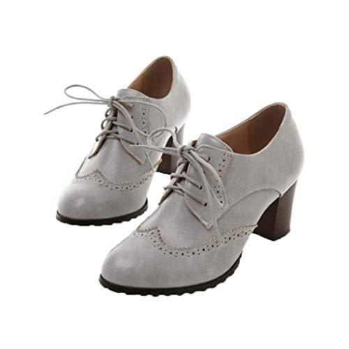 Zapatos Oxford para Mujer Zapatos Informales Impermeables con Plataforma Punta Redonda tacón Alto con Cordones Zapatos de Cuero para Fiesta de Boda para Mujer