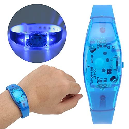 Pulsera intermitente, plástico notable, fácil de usar, 3 modos de luz, pulsera LED, silicona para conciertos musicales, fiestas, para correr por la noche(blue)