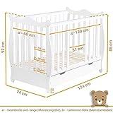 Gitterbett Babybett 2in1 60x120 mit Schublade Schlupfsprossen und Lattenrost Höhenverstellbar Umbaubar zum Juniorbett für Mädchen und Junge - Weiß - 7