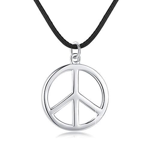 925 Sterling zilveren hanger, vredesteken Hippie ketting met zwart lederen touw ketting, klassieke sieraden geschenken voor mannen vrouwen meisjes